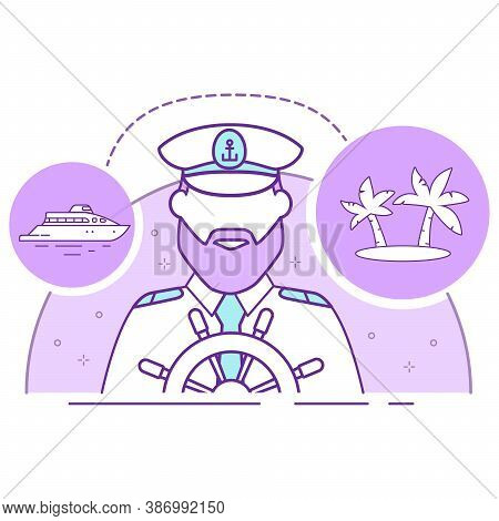 Ship Captain In Uniform Icon In Uniform. Cruise On A Yacht To A Tropical Island.