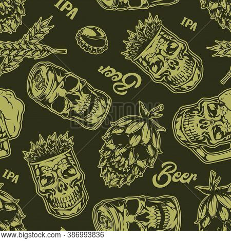 Monochrome Beer Seamless Pattern With Skull-shaped Hop Cones Beer Mugs Aluminum Cans And Glasses Of