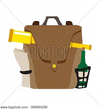Hiking Knapsack With Looking Glass And Bottle - Flat Vector Isolated