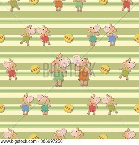 Cheerful Bull Calf. Ball Game. Childrens Striped Background, Pattern. Bull Symbol 2021year. Little C
