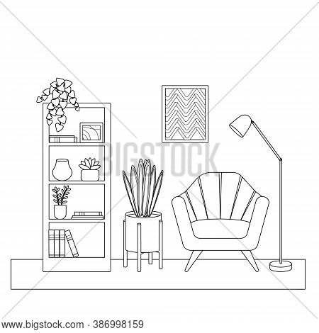 Outline, Silhouette Of The Room, Chair, Painting, Shelving And Flowers. Cute Simple Coloring Book, V