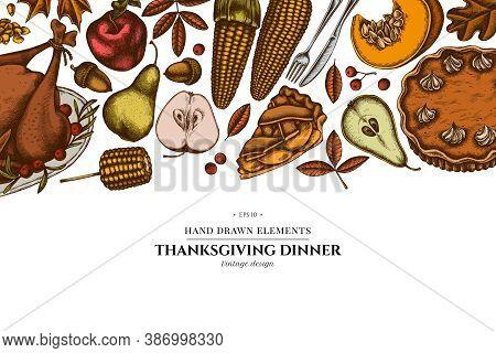 Colored Elements Design With Pumpkin, Fork, Knife, Pears, Turkey, Pumpkin Pie, Apple Pie, Corn, Appl