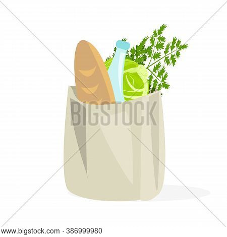 Shopping In A Paper Bag. Isolated Icon On A White Background, Vector. Groceries, Food Or Groceries,