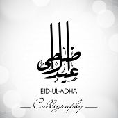 Eid-Ul-Adha or Eid-Ul-Azha, Arabic Islamic calligraphy for Muslim community festival. EPS 10. poster