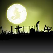 Scary Halloween moon light night background. EPS 10. poster