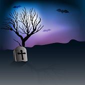 Scary Halloween night background with grave stone and dead tree branches. EPS 10. poster