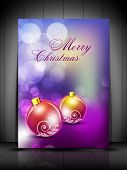Beautiful greeting card, gift card or invitation card for Merry Christmas with Xmas balls on shiny snowflakes background. EPS 10. poster