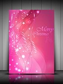 Merry Christmas greeting card, gift card or invitation card with shiny snowflakes and wave background. EPS 10. poster