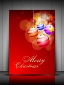 Merry Christmas greeting card, gift card or invitation card with decorative Xmas balls on snowflakes background. EPS 10. poster