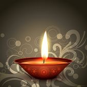 stylish indian festival diwali diya on dark background poster