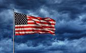 Majestic United States Flag against a dark background poster