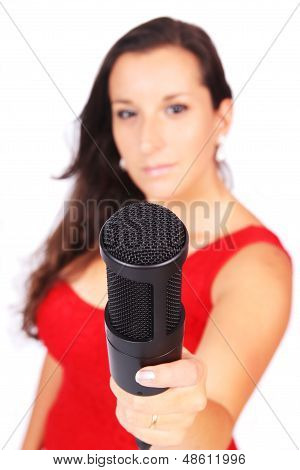 A Female Singer In Action