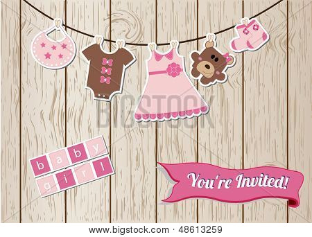 New baby girl invitation card