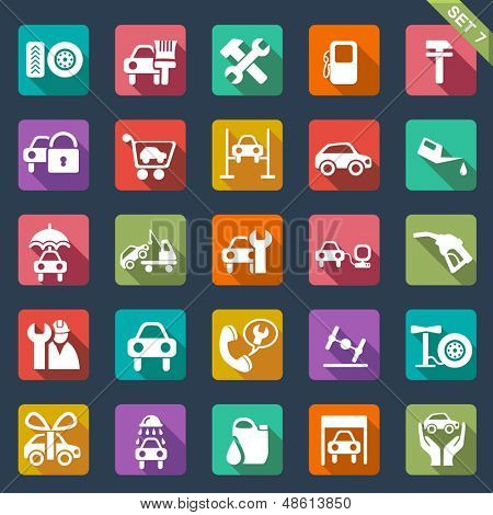 Auto service icon set- flat design