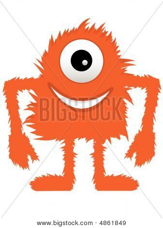 Furry Fuzzy Orange One Eyed Monster
