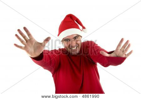 Man Wearing Red Santa Hat With His Arms Open