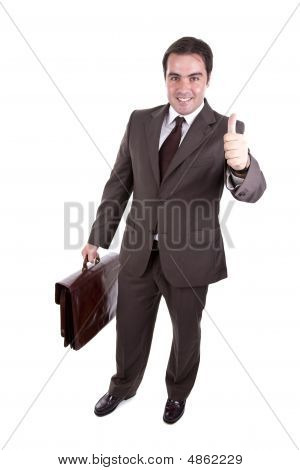 Businessman With His Thumb Up And With Brown Classic Case. Isolated On White