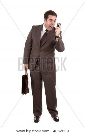 Angry Businessman Yelling Loud On The Phone