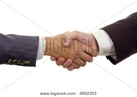 Business Hand Shaking On A White Background