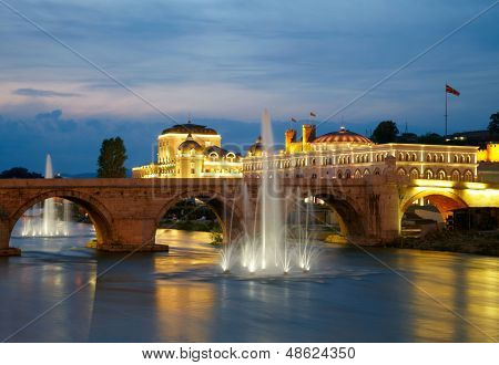 Macedonian's capital city Skopje. Old stone bridge