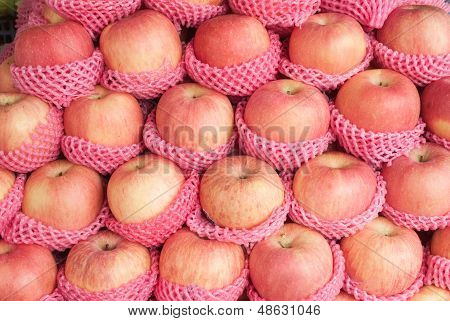 Yummy Pile Of Apples In A Market Stall