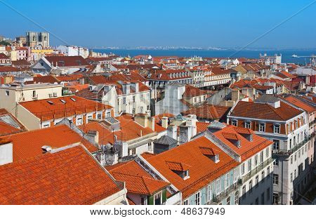 Baixa City Center Of Lisbon Panoramic View