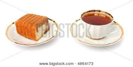 Chocolate Cake And Cup Of Tea