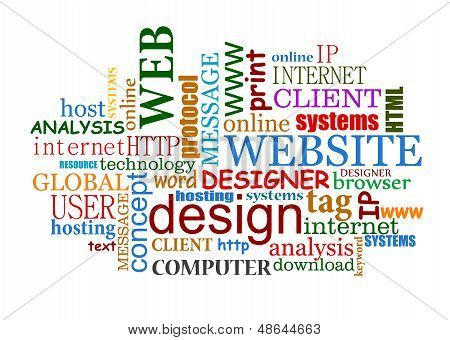 Web and internet design tags cloud