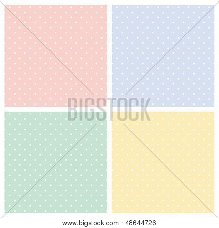 Vector set of sweet seamless patterns or textures with white polka dots on colorful background