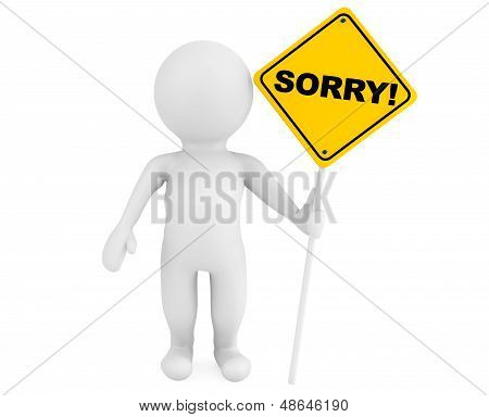 3D Person With Sorry Traffic Sign
