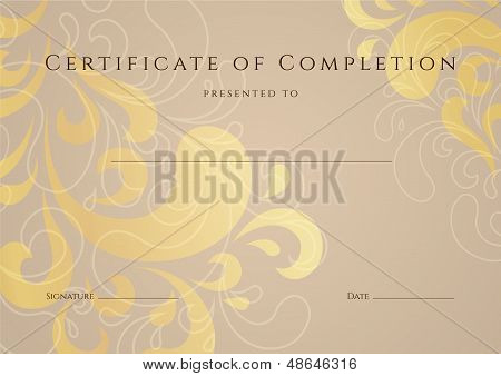 Certificate / Diploma template with gold floral (swirl, scroll) pattern