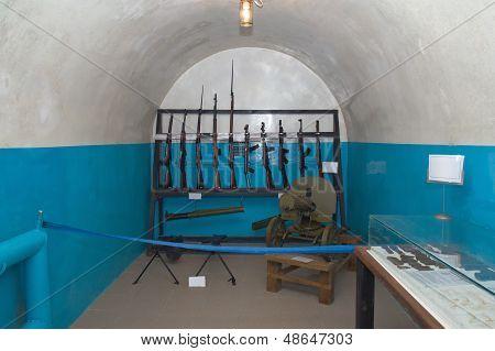 Guns  In Military Bunker