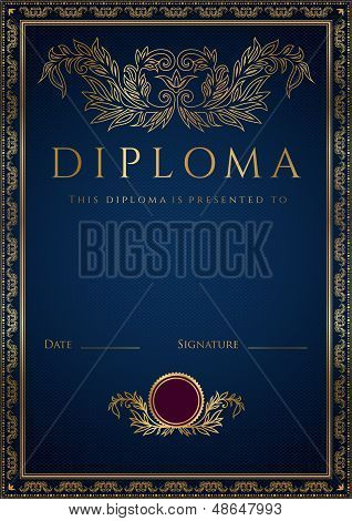 Certificate / Diploma template with gold floral pattern (tracery)