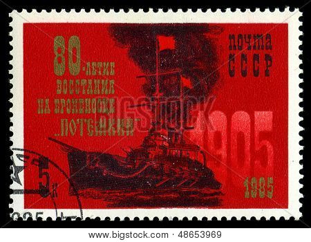 Ussr- Circa 1985: A Stamp Printed By Ussr, Shows Known Russian Battleship