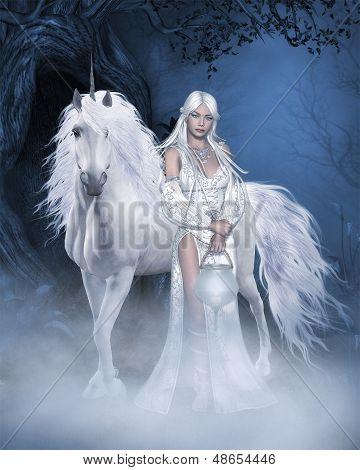 Unicorn and beautiful Fairy