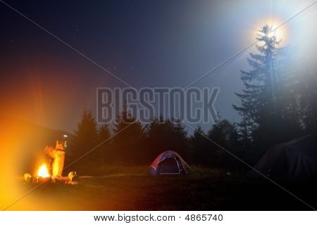 Tent Camping At Night