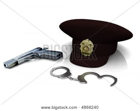 Police Hat, Gun And Handcuffs