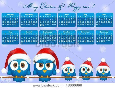 2014 Calendar With Funny Blue Birds Family