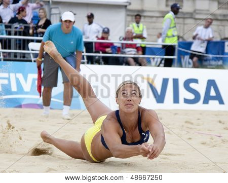 12/08/2011 LONDON, ENGLAND, Denise Johns (GBR) in action during the FIVB International Beach Volleyball tournament, at Horse Guards Parade, Westminster, London.