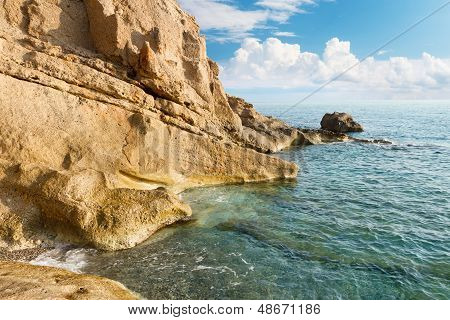 Beautiful Seascape. Sea And Rock In The Early Morning. Nature Composition.