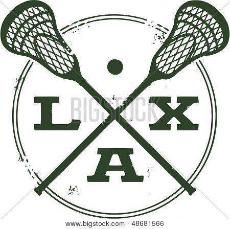 Lacrosse LAX Vintage Style Stamp