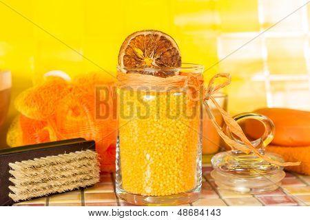Colourful Orange Bath Salts In A Bathroom