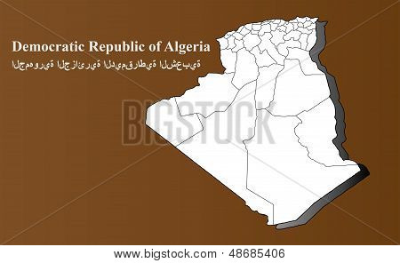 Algeria map in 3D on brown background. poster