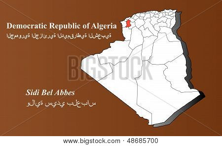 Algeria map in 3D on brown background. Sidi Bel Abbes highlighted. poster