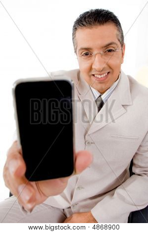 Top View Of Businessman Offering Cell Phone
