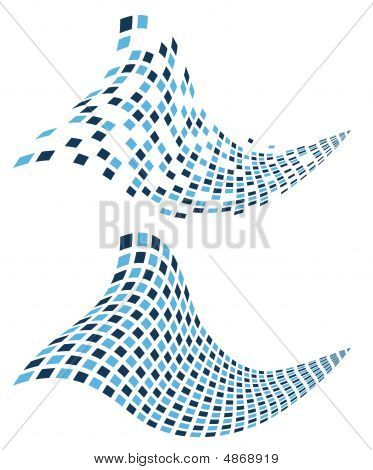 Blue mosaic 3D waves (great background for different types of designs) poster