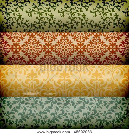 Vector seamless floral borders on grungy crumpled paper poster