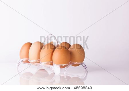 Eggs In Clear Plastic Basket