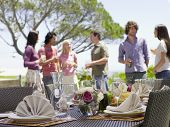 Fine dining table setting with friends enjoying drinks in background poster