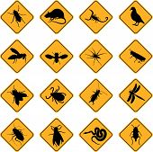 a set of sixteen warning signs for rodents and insects poster